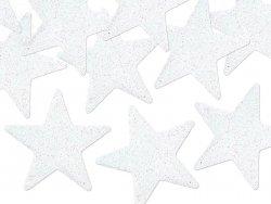 Dekoracje brokatowe biała gwiazdka 8szt