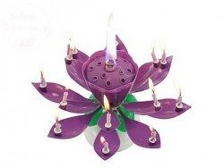 Świeczka urodzinowa wirująco grająca fioletowa