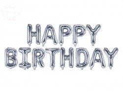 Balon foliowy Happy Birthday srebrny 340x35 cm