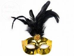 Maska na karnawałowa złota z czarnym piórem