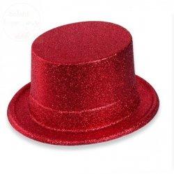 Cylinder czerwony z brokatem 12 cm