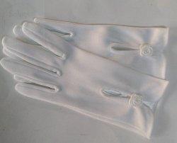 Rękawiczki komunijne z białą różyczką 1 para