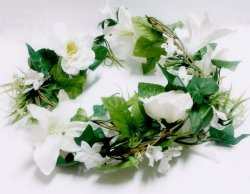 Girlanda kwiatowa 1,6m biała GK1-008