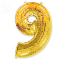 Balon foliowy złoty Cyfra 9 85 cm