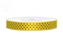 Tasiemka satynowa żółta z nadrukiem 12mm/25m