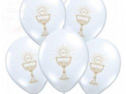 Balony komunijne białe ze złotym kielichem 1 szt