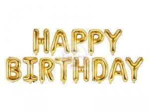 Balon foliowy Happy Birthday złoty 340x35 cm