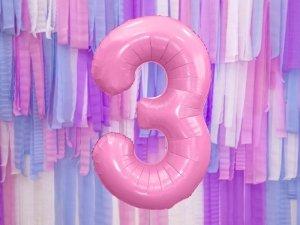 Balon foliowy cyfra 3 różowa - 86 cm
