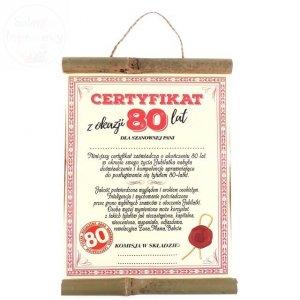 Dyplom bambus Certyfikat z Okazji 80 lat dla Pani