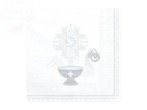 Serwetki 3-warstw 33x33cm Chrzest Święty - srebrne
