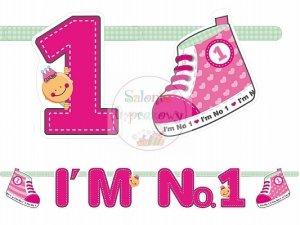 Baner urodzinowy I`m No. 1 różowy 1 szt