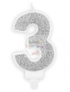 Świeczka urodzinowa cyferka 3 srebrna z brokatem