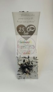 Wazon ze srebrną różą i grawerem prezent na Rocznicę ślubu 25