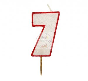 Świeczka cyferka 7 czerwony kontur z brokatem