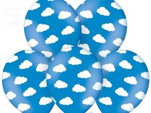 Balony 14 cali błękitne w białe chmurki 1szt