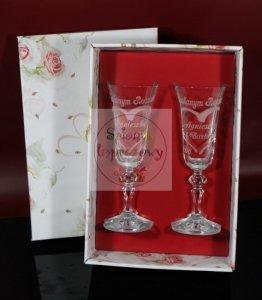 Grawerowane kieliszki do szampana podziękowania dla rodziców w kolorowym pudełku