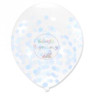Balon przezroczyst niebieskie konfetti 30cm 1szt