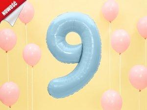 Balon foliowy cyfra 9 błękitna - 86 cm