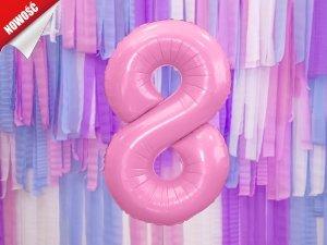Balon foliowy cyfra 8 różowa - 86 cm
