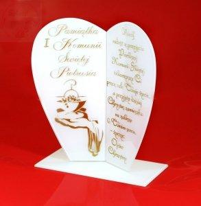Statuetka Serce prezent na komunię, komunia, złoty grawer, mleczne szkło