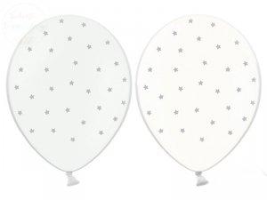 Balony białe lub przezroczyste w srebrne gwiazdki