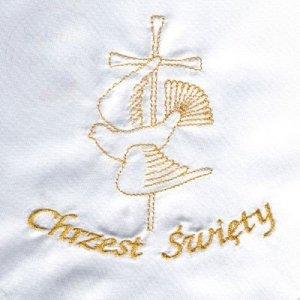 Szatka do chrztu świetego ze złotym hatem