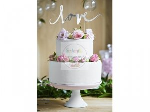 Topper na tort LOVE srebrny 17 cm