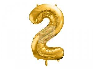 Balon foliowy cyfra 2 złota  86 cm