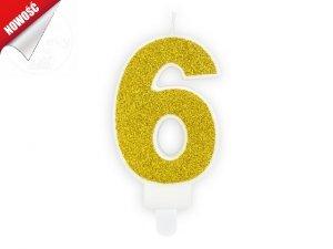 Świeczka urodzinowa cyferka 6 złota z brokatem