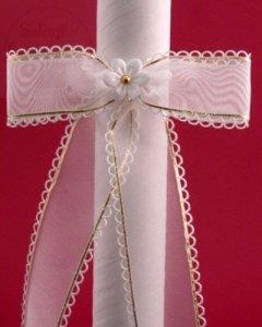 Kokarda do świecy na chrzest szyfonowa z białym