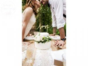Topper na tort LOVE złoty 17 cm