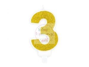 Świeczka urodzinowa cyferka 3 złota z brokatem