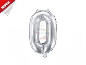 Balon foliowy Cyfra 0 35 cm srebrny