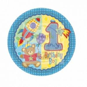 Talerzyki urodzinowe na roczek niebieskie 8szt
