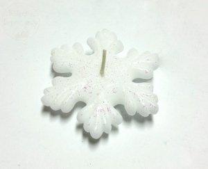 Świeca dekoracyjna ŚNIEŻYNKA pływająca biała 1szt