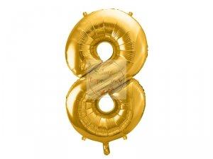 Balon foliowy  86 cm złoty cyfra 8