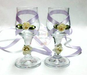 Kileiszki do wódki z jasnofioletową dekoracją 2szt