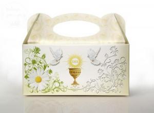 Pudełko komunijne na ciasto - kremowe 1 szt