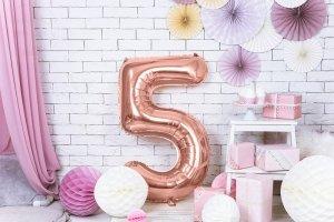 Balon foliowy cyfra 5 różowe złoto - 86 cm