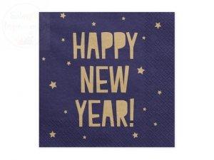 Serwetki Happy New Year granatowe 33x33cm