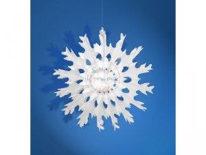 Rozeta bibułowa Śnieżynka biała 37cm - 1szt