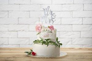 Topper na tort  srebrny  MR&MRS  25,5 cm - 1szt