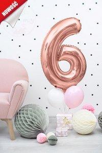 Balon foliowy cyfra 6 różowe złoto - 86 cm