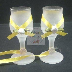 Kieliszki do wódki szronione 2 szt żółte