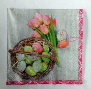 Serwetki Wielkanocne 33x33 20szt Pisanki w Koszycz