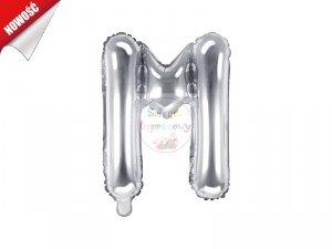 Balon foliowy Litera M 35 cm srebrny
