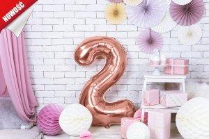 Balon foliowy cyfra 2 różowe złoto - 86 cm