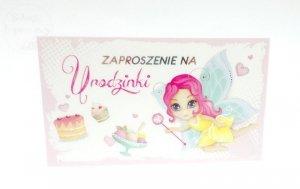 Zaproszenie na urodzinki  Wróżka z kopertą 1szt