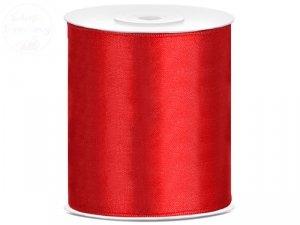 Tasśma satynowa czerwona 100mmx25m 1 rolka