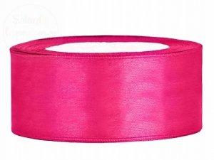 Tasiemka satynowa ciemno różowa 25mm/25m